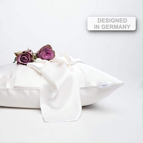 aju | Funda de cojín de seda 100% en blanco brillante | 50 x 50 cm | Funda de cojín de seda | Fundas de almohada de seda suave para almohada | Funda de seda | Diseñada en Alemania
