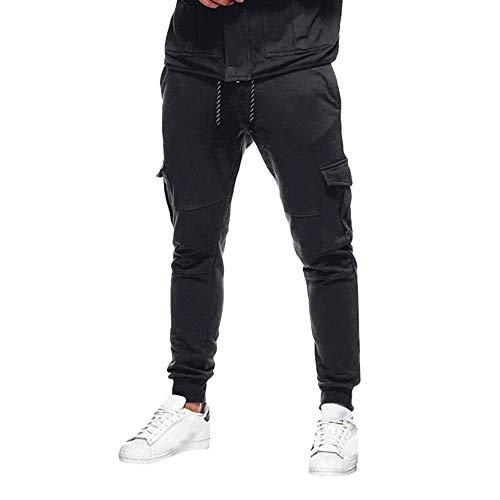 FRAUIT Männer Herren Hose Einfarbig Slacks Lässige elastische Sport Baggy Pockets Hose Sweatpants Hose, Yoga, Trainingsanzug, bequem, Tanz, Kampf, Taschen Overalls Kordelzug elastische Hosen