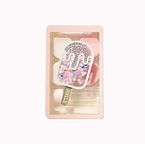 Shuai Mode Kontaktlinsenbehälter, Treibsand EIS Kontaktlinse Reiseetui, Kontaktlinsen Reiseetui Kit for Make-up-Entferner Aufbewahrungsbox Geschenk (Color : Pink)