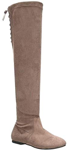 Nature Breeze Women's Vickie-40OK Faux Suede Over The Knee High Back Lace Flat Boot (Taupe, 11)