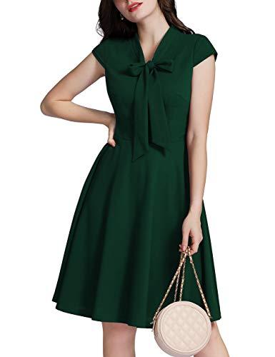 MuaDress 6233 Vintage Cocktailklänning Bröllopsgäst Affärsår 50 60 Till Audrey Hepburn Collar Tie Cap Mörkgrön XL