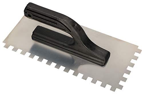 KOTARBAU® Edelstahl Glättkelle 270 x 128 mm mit Zahnung 10x10 mm Zahnkelle zum Verlegen von Fliesen Glättscheibe Traufel Edelstahlkelle mit Kunststoffgriff unentbehrlich beim Fliesen