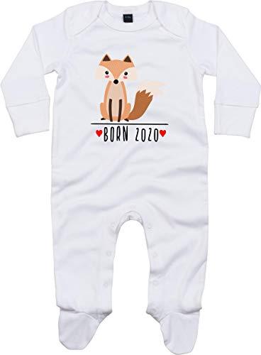 Kleckerliese Baby Schlafanzug Strampler Schlafstrampler Sprüche Jungen Mädchen Motiv Born 2020 Tiermotiv Tiere Fuchs, White 0-3 Monate