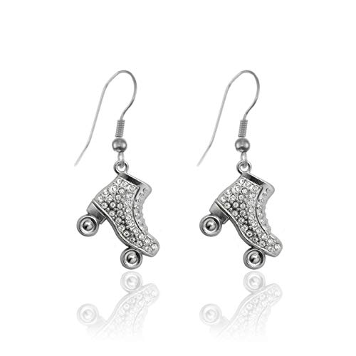Inspired Silver - 1.0 Carat Roller Skate Charm Earrings for Women - Silver Customized Charm French Hook Drop Earrings with Cubic Zirconia Jewelry