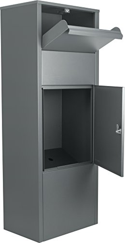 Winbest Large Steel Freestanding Floor Parcel Lockable Drop Slot Mail Box, Grey
