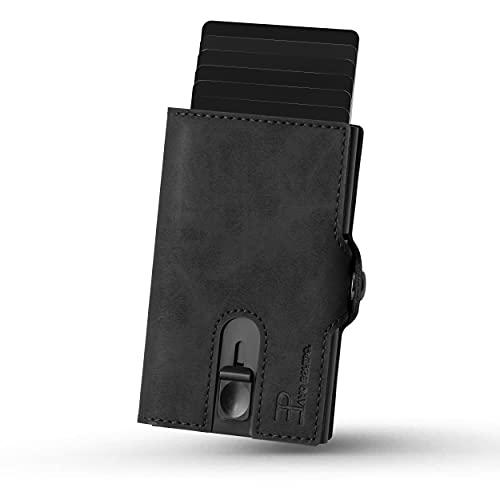 PAVO EQUIPO Slim Wallet   Kartenetui mit Geldclip und Münzfach  Geldbörse   RFID Schutz  Mini Portemonnaie (Schwarz)