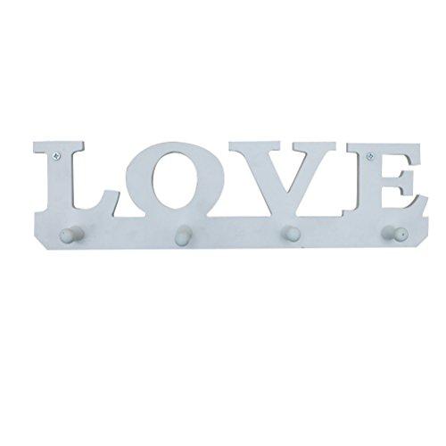OUNONA Perchero de pared de madera con diseño de letras de amor