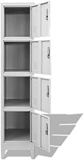 Pissente Armoire de Vestiaire Industriel, Placard de Rangement à 4 Compartiments Armoire avec Porte Verrouillable pour Bur...