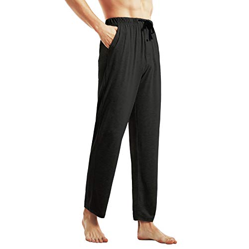 Ham&Sam Men's Knit Pajama Pants Bamboo Cotton Lounge Sleep Bottoms Soft Stretch Lightweight Pants with Pockets & Open Fly Black
