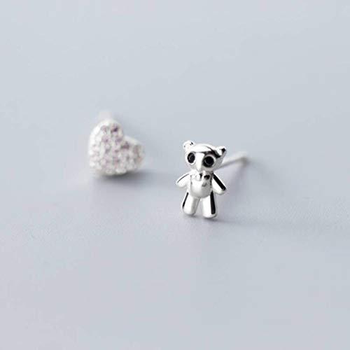 WOZUIMEI S925 Pendientes de Plata Estilo Coreano Femenino Oso Amor Diamante Asimétricoplata