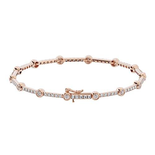 1.50carati rotondi brillanti, bracciale tennis in oro bianco 9K e Oro rosa, cod. FTB0149
