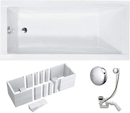 VBChome Badewanne 160x70 cm Acryl SET Wannenträger Siphon Wanne Rechteck Weiß Design Modern Styroporträger Ablaufgarnitur in Chrom Viega Simplex (160x70 cm)