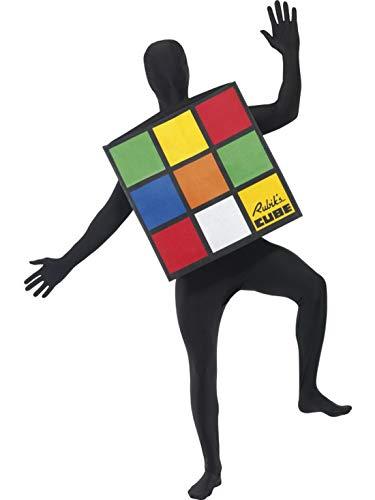 Halloweenia - Herren Männer 80er Jahre Rubiks Würfel Cube Kostüm im hautengen Einteiler Overall Jumpsuit, perfekt für Karneval, Fasching und Fastnacht, One Size, Mehrfarbig