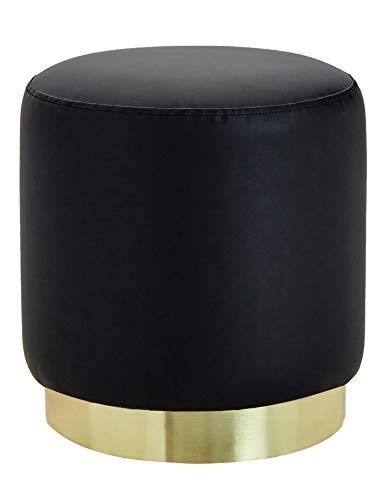 Suhu Taburete de Piel Sintética Redondo Taburete de Tocador Mesita de Café Asiento Otomana Cómodo Relleno Tapizados de Esponja Cuero Sintético Base de Metal Negro
