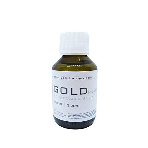 Oro coloidal 100 ml   botella de cristal marrón de 2 ppm cierre originalidad puro