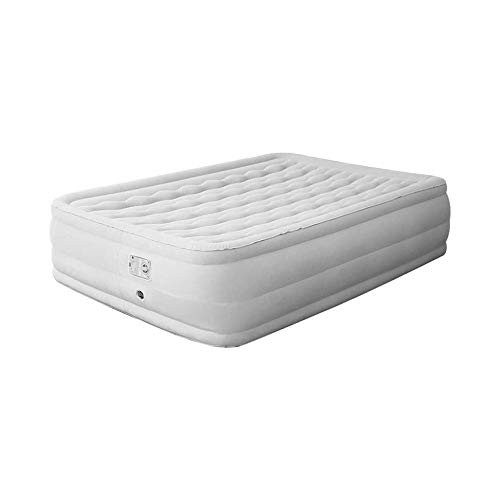 LKNJLL Air Mattress with Built in Electric Pump & Raised Pillow – Puncture Resistant with Waterproof Flocked Top,Elevated Inflatable Air Bed for Guests