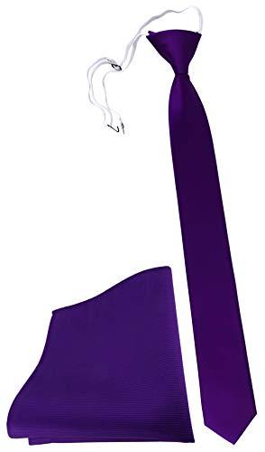TigerTie Security Sicherheits Krawatte Einstecktuch in lila violett einfarbig Uni Rips - Sicherheitskrawatte fest vorgebunden mit Gummizug