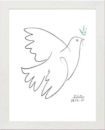 L Lumartos Vintage Poster Picasso Taube, modernes Deko-Wandbild, weiß, A3