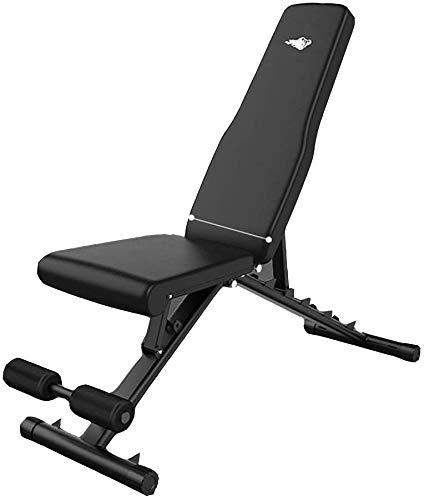MUZIDP Banco de pesas para entrenamiento de cuerpo completo, banco de mancuernas multifuncional, banco plegable, banco de pesas doméstico, sillón reclinable para pájaros, ajuste multivelocidad