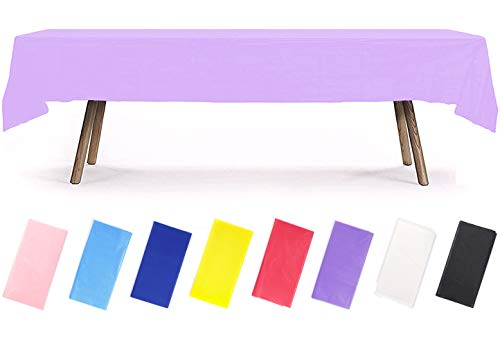 PartyWoo Tischdecke Lila, 137 x 274 cm/ 54 x 108 Zoll Rechteckige Tischdecke Abwaschbar für 6 bis 8 Fuß Tisch, Tischtuch, Table Cloth, Wasserdichte Tischdecke für Party, Geburtstag, Hochzeit (1 STÜCK)