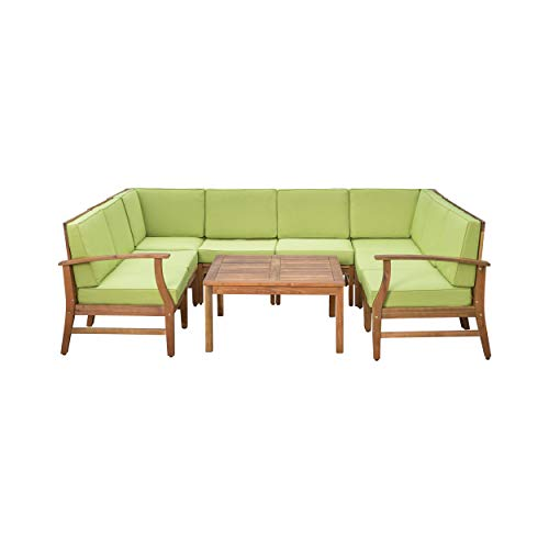 Lorelei Outdoor 8 Seater Teak Finished Acacia Wood Sectional Sofa and Table Set with Green Water Resistant Cushions