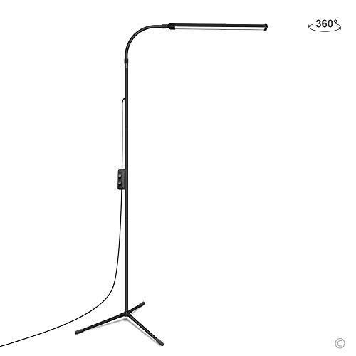Lámpara de pie JCotton LED, regulable, para sala de estar y dormitorio (negro)