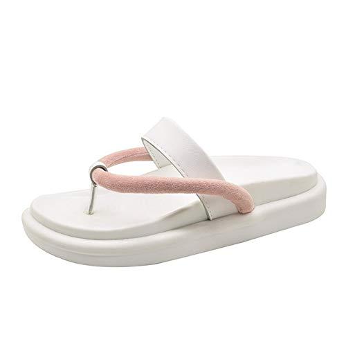NOLOGO Nuevo Verano de tirón del Color sólido Salvaje Plana Deslizadores de señoras Plataforma Ocasional de Moda Zapatillas Abrir-Punt (Color : White, Size : 38)