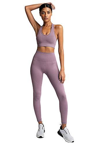 PowerLife MisShow Damen Sport Bekleidung Sport Yoga BH und Leggins Blickdicht Sporthose Yogahose Streetwear Yoga Fitness S