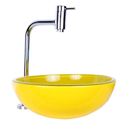 Kit Cuba Para Banheiro 30cm Amarela com Torneira Link e Válvula
