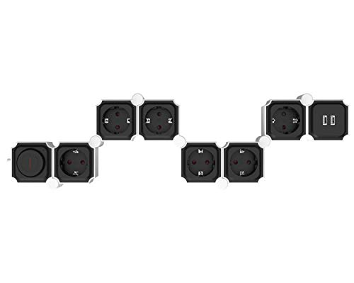 UCOMEN Power Strip, 6 Fach Steckdosenleiste, Steckdose mit 2 USB, Tischsteckdose mit Schalter, Mehrfachsteckdose mit überspannschutz, 3680W, Verformbar Würfel, Schwarz