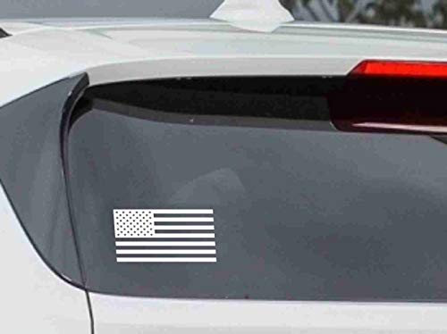 American Flag Car Vinyl Sticker Decal Bumper Sticker for Auto, Cars, Trucks, Walls, Windows, and More. (White)