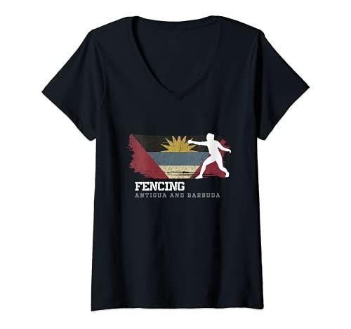 Mujer Antigua y Barbuda Esgrima Esgrima Espada Esgrima Camiseta Cuello V