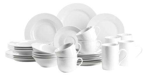 Domestic by Mäser, Super–Servizio Combinato in Bianco 112Pezzi Servizio da tavola in 28 Pezzi Bianco