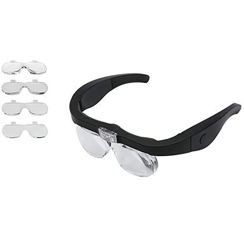 LQNB Lupa con Gafas USB Recargable con Luz LED para Leer Joyeros Relojeros ReparacióN Magnifing