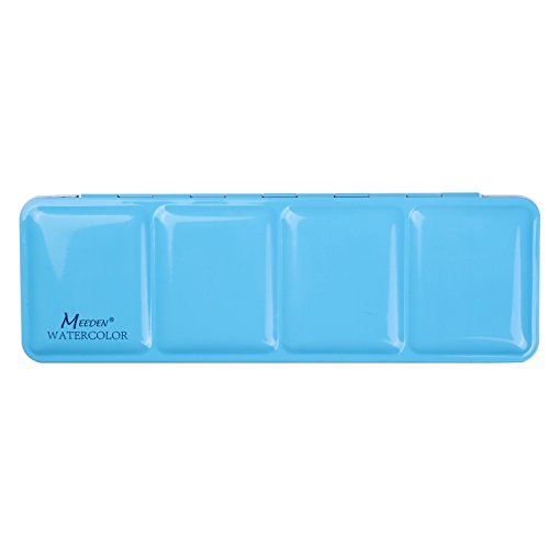 MEEDEN Empty Watercolor Tins Box Palette Paint Case, Medium Blue Tin, Will Hold 24 Half Pans or 12 Full Pans