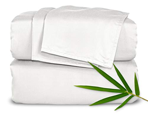 "Pure Bamboo Sheets - King Size Bed Sheets 4pc Set - 100% Organic Bamboo - Incredibly Soft Breathable Fabric - Fits Up to 16"" Mattress - 1 Fitted Sheet, 1 Flat Sheet, 2 Pillowcases (King, White)"