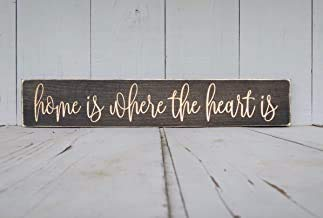 Ca565urs Home is Where The Heart is Sign, Home is Where - Placa Decorativa de Madera para el hogar, diseño con Texto en inglés Home is Where The Heart is Where