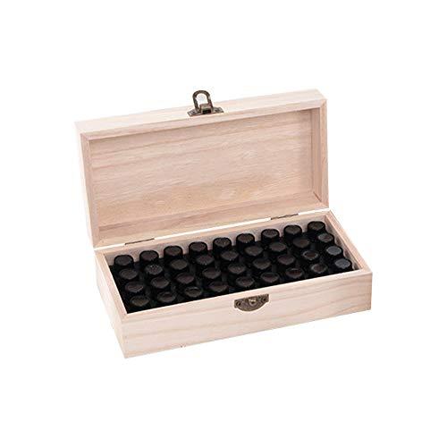 Ajcoflt Organizador de caixa de óleo essencial de madeira com 36 slots para garrafas de 1-3ml Bolsa de transporte de óleo essencial Caixa de madeira para armazenamento