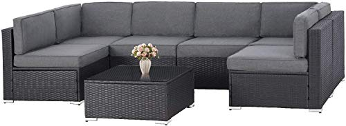 SOLAURA 7-Piece Outdoor Furniture Set,Black Brown Wicker Furniture Modular Sectional Sofa Set with Glass Coffee Table - Grey