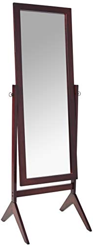 Crown Mark Espresso Finish Wooden Cheval Bedroom Floor Mirror