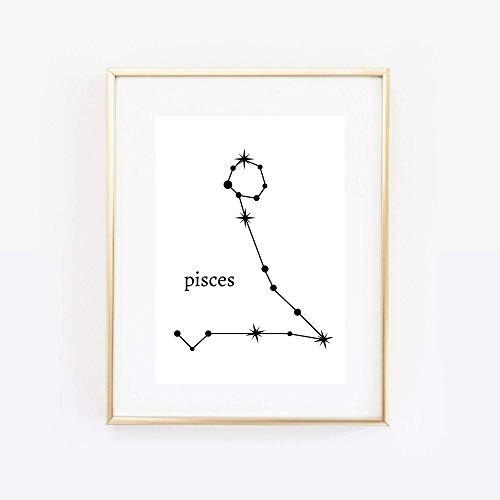 Din A4 Kunstdruck ungerahmt Sternzeichen Fische Horoskop Pisces Astrologie Sterne Sternhimmel Sternbild Minimalismus Druck Poster Bild