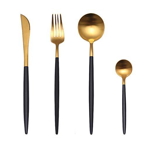 Juego de cubiertos de oro_Forks_Knives_Spoons_304 Acero inox