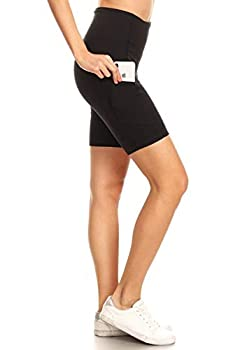Leggings Depot YL7AS8-BLACK-XL Women s 8  High Waist Workout Pocket Yoga Biker Shorts-Black X-Large