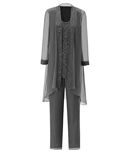 Pretygirl Damen 3 Stück Elegante Pailletten Chiffon Kleid für die Brautmutter Hose mit Jacke Outfit für Hochzeit(US 16 Plus, Grau)
