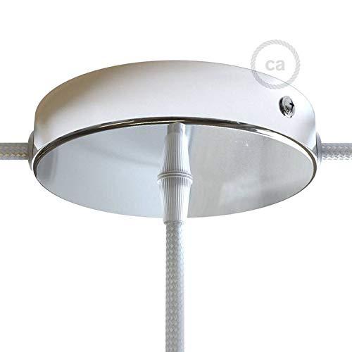 creative cables Zylindrischer Lampenbaldachin Kit aus Metall mit 1 Haupt- und 2 Seitenlöchern - Konisch, Chrom