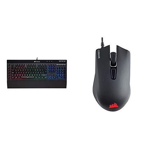 Corsair K55 Gaming Tastatur (Multi-Color RGB Beleuchtung, QWERTZ) schwarz und Harpoon PRO RGB FPS/MOBA-Optisch-Gaming-Maus (12.000DPI Optisch Sensor, 6 vollständig programmierbare Tasten) schwarz