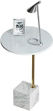 JSONA Nest of Tables Table Basse Blanche Tables d'appoint Table d'ordinateur Portable Côté Rond Bois Salon Canapé Caf