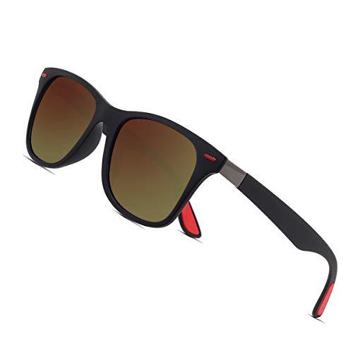 Sunmeet Gafas de Sol Polarizadas Hombre Mujere para Conducir Deportes100% Protección UV400 Gafas para Conducción(Marrón/Marrón)