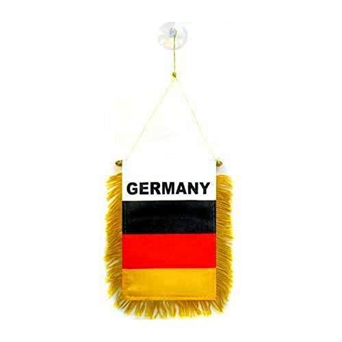 AZ FLAG Germany Mini Banner 6'' x 4'' - German Pennant 15 x 10 cm - Mini Banners 4x6 inch Suction Cup Hanger