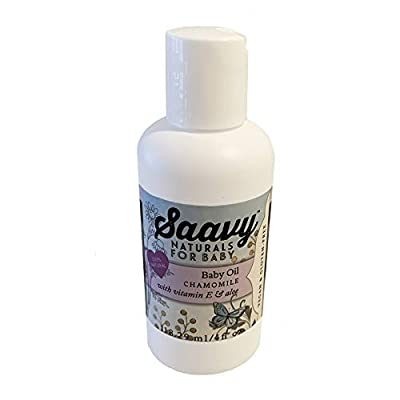 Saavy Naturals Organic Baby Oil | All-Natural Skin Care for Infant Dry, Cracked, Delicate Skin with Vitamin E & Aloe | Baby Shower Gifts | 4oz Chamomile Body Oil